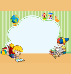 Border template with kids reading books vector