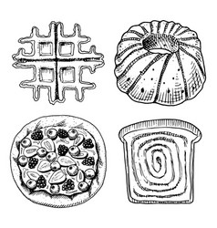 bread and pastry donut belgian waffles and sweet vector image