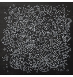 Cartoon hand-drawn Cinema Doodle Sketchy vector image