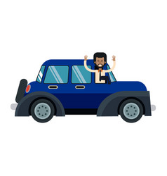 Character man in blue car hands up vector