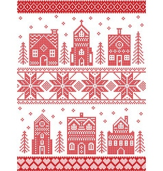 Christmas Nordic style village vector image vector image