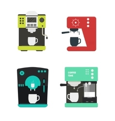 Coffee machine with a cup set vector