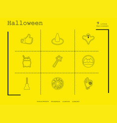 Collection of 9 halloween icons in thin line style vector