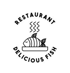 Dish fish restaurant menu vector
