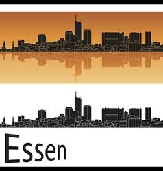 Essen skyline in orange background vector