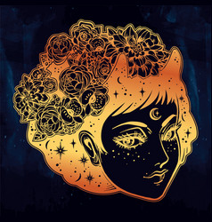 fairy girl portrait in vinatge manga style vector image vector image