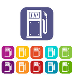 Gasoline pump icons set vector