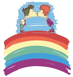 gay couple kissing on abstract rainbow sketch vector image