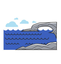 greek or cyprus mediaterranean sea cliff rock vector image vector image