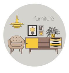 Interior design logo vector