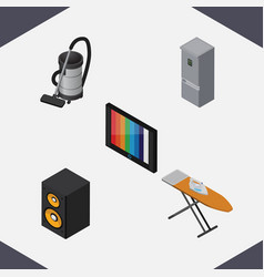 Isometric appliance set of music box television vector