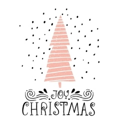 Joy christmas- winter holiday saying hand drawn vector