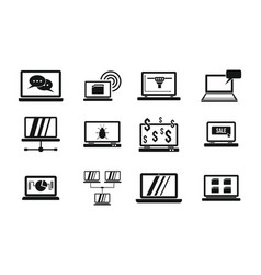 laptop icon set simple style vector image vector image