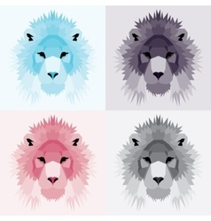 Low poly lions set vector