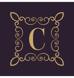 Monogram letter C Calligraphic ornament Gold vector image