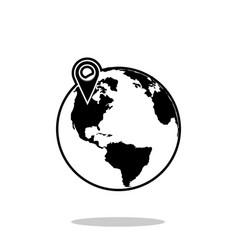 Pin on globe icon vector