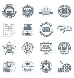 Print service logo icons set simple style vector