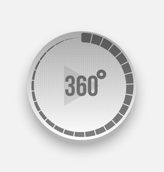 Realistic 360 degrees icon with arrow and shadow vector