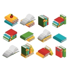 School Books Isometric Icon Set vector image vector image