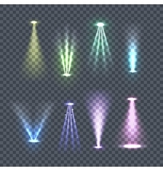 Set of spotlights color rays vector