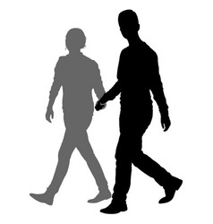 silhouette man and woman walking hand in hand vector image