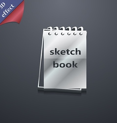 Sketchbook icon symbol 3d style trendy modern vector