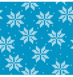 Snowflakes on knitted background vector image