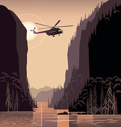 Sunset landscape design with helicopter flying vector image vector image