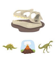 volcanic eruption gallimimus stegosaurus vector image