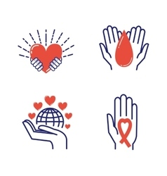 Volunteer donate icons set vector image