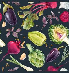 Watercolor vegetable pattern vector