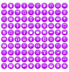 100 audio icons set purple vector