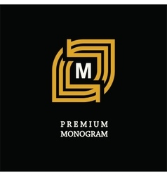 Modern template monogram emblem logo Symbol of vector image