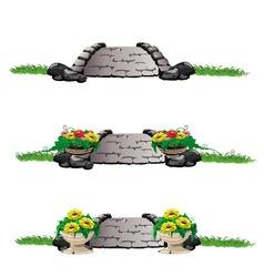 Stone bridge with flowers set vector