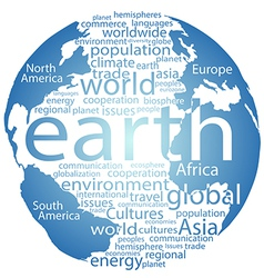 Global earth world word cloud tags vector