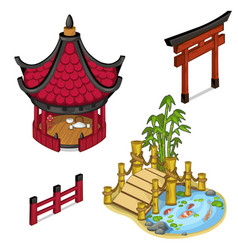 Oriental architecture elements for locations vector