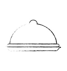 Blurred silhouette cloche food element vector