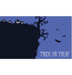 Halloween night withn pumpkin and bat landscape vector