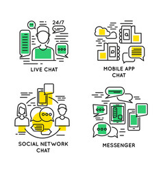 Linear people online communication concept vector