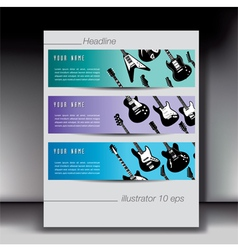 Guitar banners with gray border vector