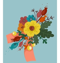 Bright Flowers Bouquet with Ribbon vector image