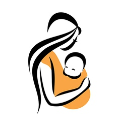 Mom holding her baby in a sling vector