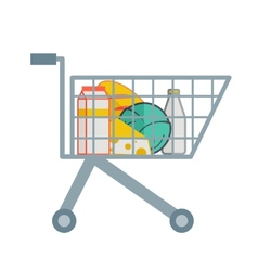 Groceries inside the shopping cart vector