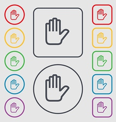 Hand print stop icon sign symbol on the round and vector