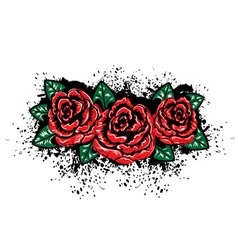 Grunge roses with splatters vector