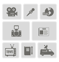 monochrome set with journalism icons vector image