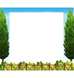 Border design with tree and fence vector