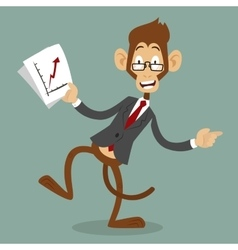 Cartoon monkey business man stress dancing vector