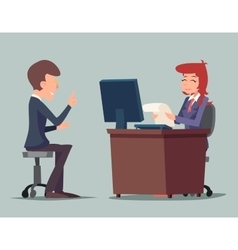 Task conversation job interview businessman at vector