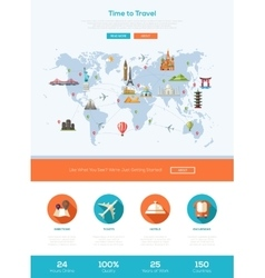 Flat design travel website header banner with vector